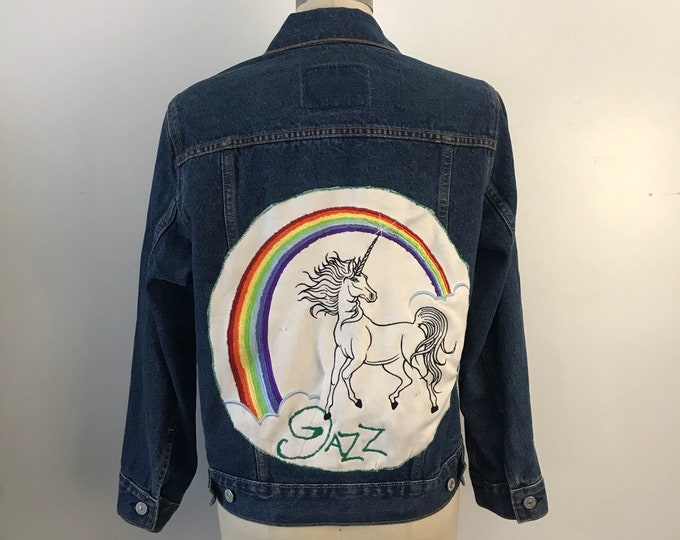 80s UNICORN JAZZ custom LEVIS patch roller skating derby denim jacket vintage M