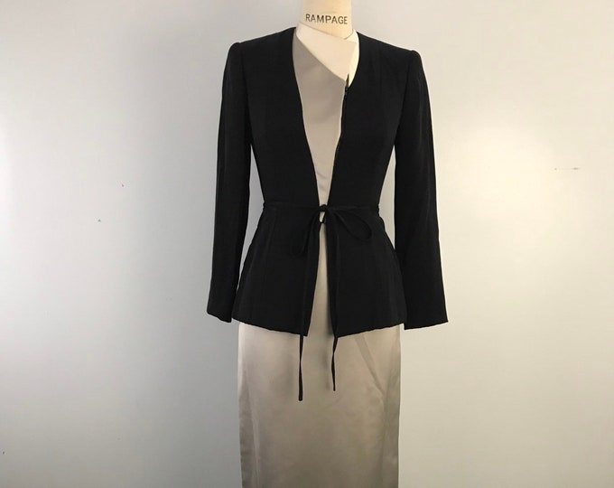 90s GEOFFREY BEENE silk asymetrical gray white black chic & minimal evening skirt SUIT vintage 1990s 4