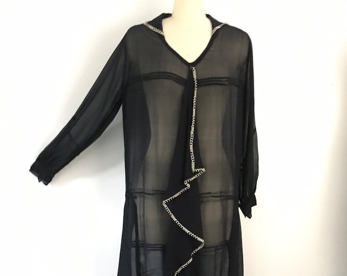 20s ART DECO black silk chiffon sheer GRAPHIC ruffle front drop waist flapper dress vintage 1920s