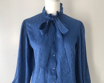 663945e35b3 70s YSL Yves Saint Laurent signature silk print secretary TIE BLOUSE top  1970s vintage 42 m-l