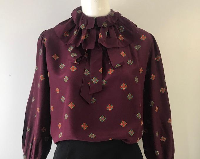 70s YSL Yves Saint Laurent plum silk print ruffle tie BLOUSE top vintage 1970s 44 10