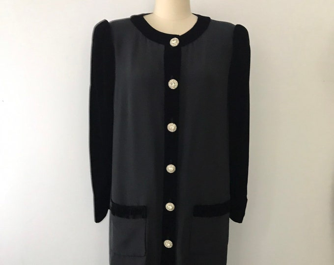 80s OSCAR De La RENTA black velvet rhinestone cocktail shift DRESS 10 vintage 1980s