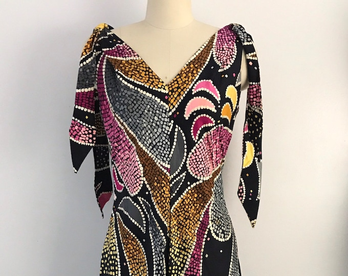60s ANNE FOGARTY batik paisley handkerchief hem black cotton sun dress vintage 1960s