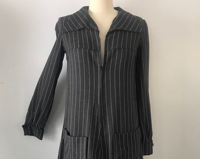 60s ENGLISH MOD Simon Jeffrey charcoal pinstripe zipper mini DRESS carnaby street vintage 1960s