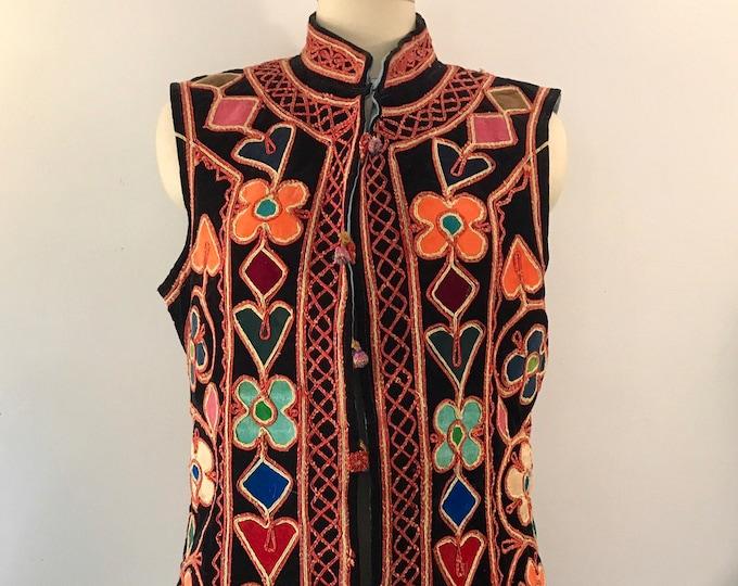 60s WOODSTOCK floral velvet appliqué Sargent Peppers ethnic hippy VEST vintage 1960s
