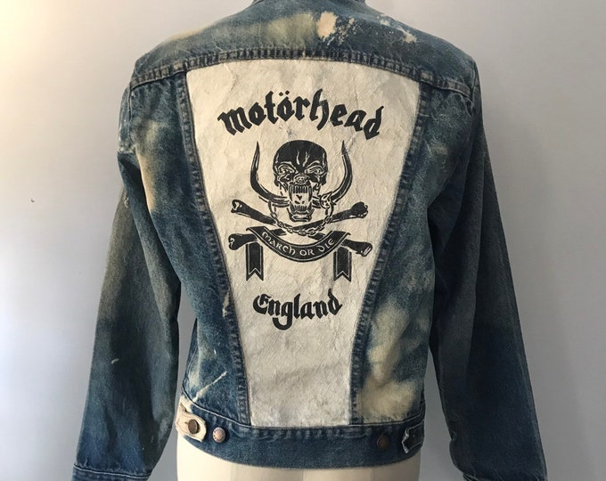 vintage MOTORHEAD England painted DENIM jacket band concert tour shirt