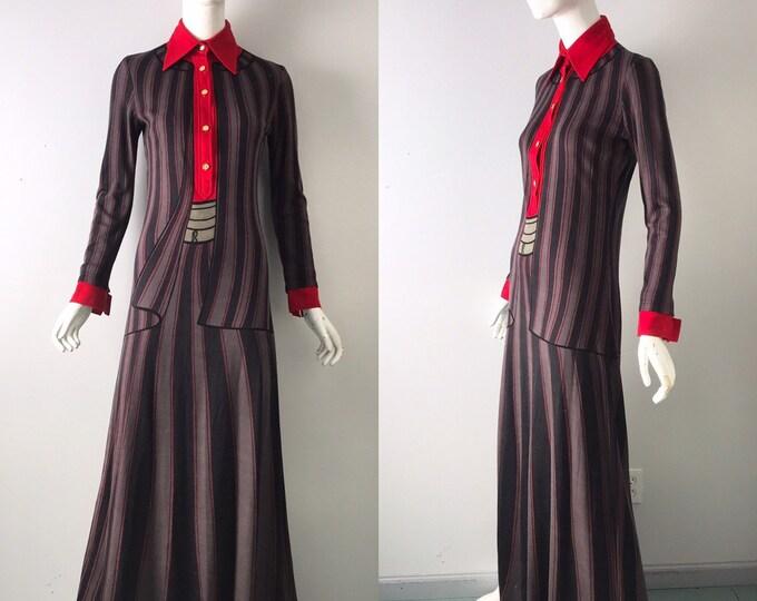 70s ROBERTO Di CAMERINO Trompe L'oeil wool knit print maxi DRESS rare 1970s vintage  8