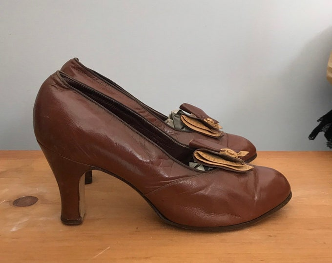 30s DECO Depression era chocolate brown leather BOW pumps shoes high heels 1930s vintage antique 6