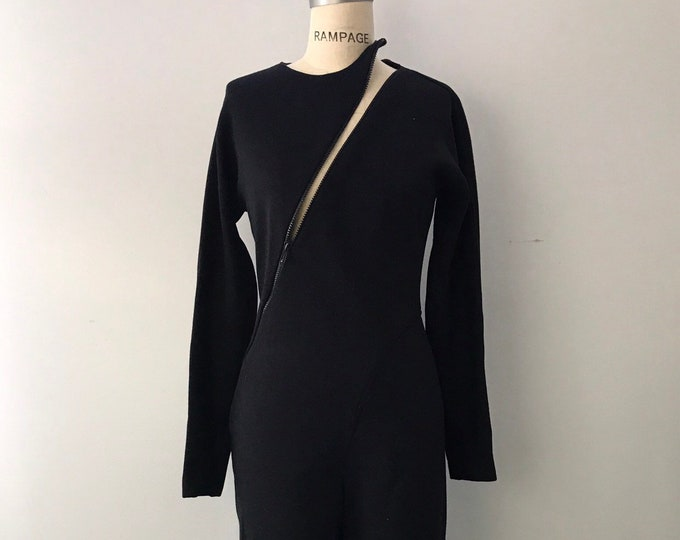 80s 90s GEOFFREY BEENE black wool knit asymmetrical zipper JUMPSUIT pants set vintage 10