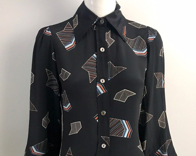 70s JEFF BANKS rayon navy deco geo print exagerrated peasant sleeve blouse top 1970s vintage England uk 14  US 10-12