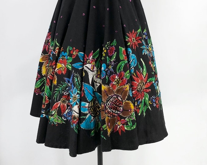 50s MEXICAN HAND PAINTED circle skirt with sunflowers and sequins L