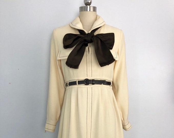 60s GEOFFREY BEENE cream wool crepe silk bow tailored Ladylike DRESS vintage 70s 1960s