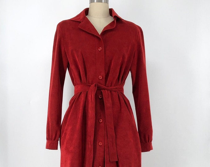 70s HALSTON crimson ultra suede belted trench coat classic 1970s vintage m-l