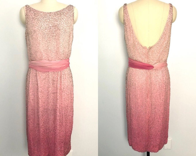 60s OMBRE BEADED cocktail dress / vintage 1960w wiggle dress pink silk silver beads evening sz 10