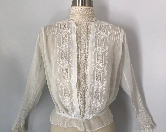 1890s VICTORIAN white cotton embroidered lace high neck tea / lawn BLOUSE top 1800s vintage antique