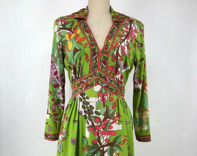60s MAURICE psychedelic floral and fruit dress L