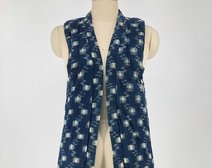 vintage JAPANESE NORAGI indigo Ikat padded vest top unisex workwear small