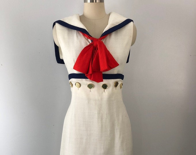 60s SAILOR nautical linen & gold button white sheath DRESS Betty Metcalf 1960s vintage