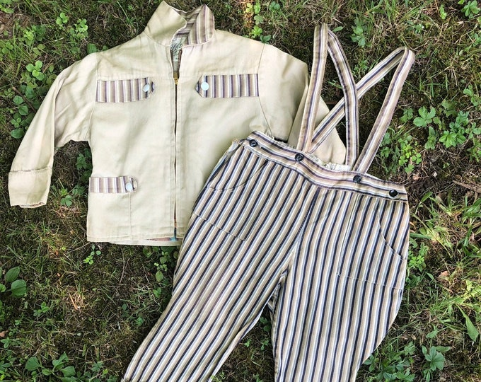 50s CHILDS striped suspender pants and jacket OUTFIT boys vintage 1950s size 4