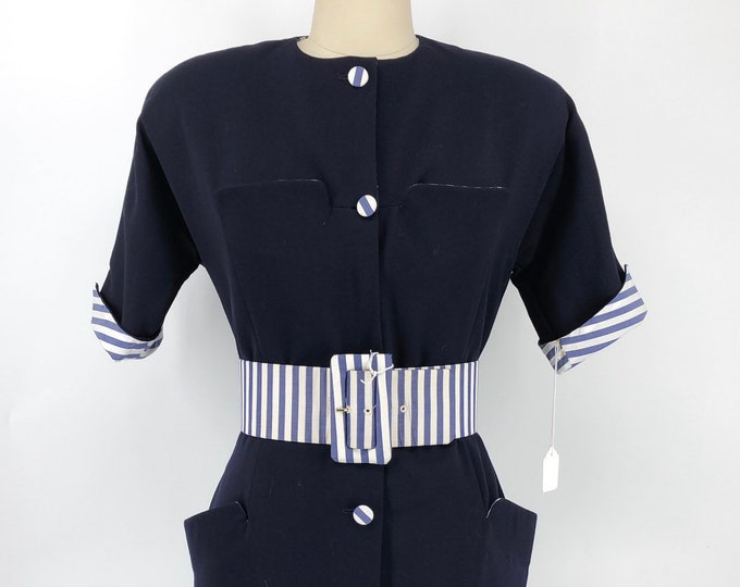 90s GEOFFREY BEENE navy blue pinstripe trim wool button up dress & belt vintage 1990s 6