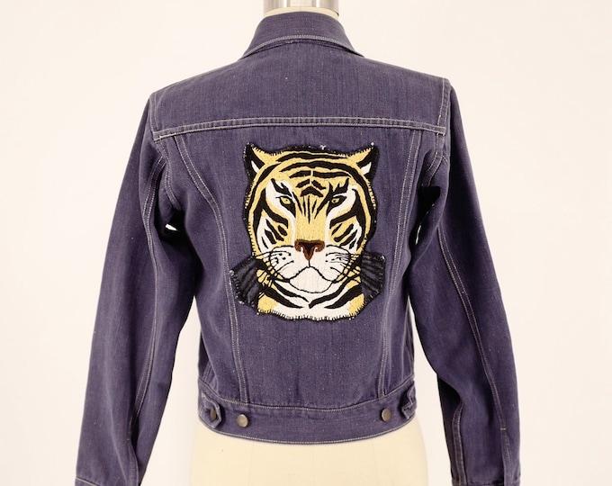 70s TIGER PATCH punk rock soft blue denim jacket 1970s vintage S - M
