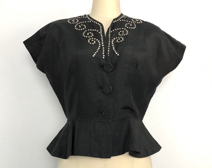 40s STUDDED blouse in black grosgrain with peplum top 1940s vintage studs