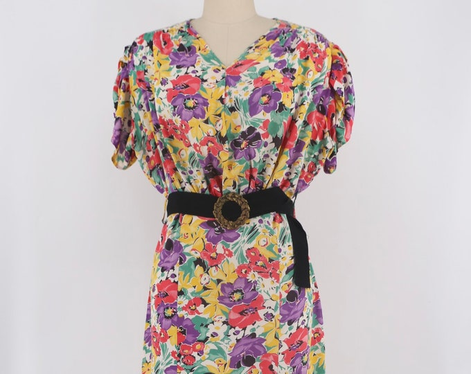 30s floral rayon day dress w/ ribbon belt L