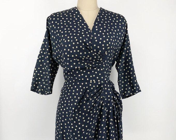 50s POLKA DOT navy blue rayon side gather sheath DRESS vintage 1950s L