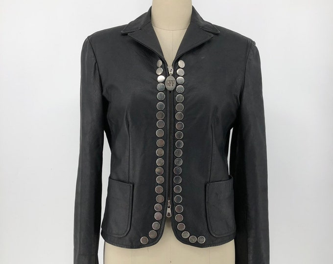 90s GIANFRANCO FERRE black tailored leather jacket with big silver studs vintage 1990s 8