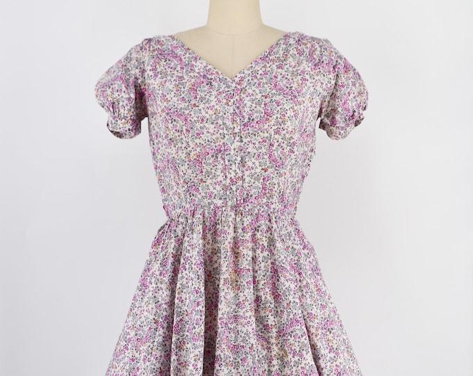 """50s ditzy floral cotton party dress 27"""""""