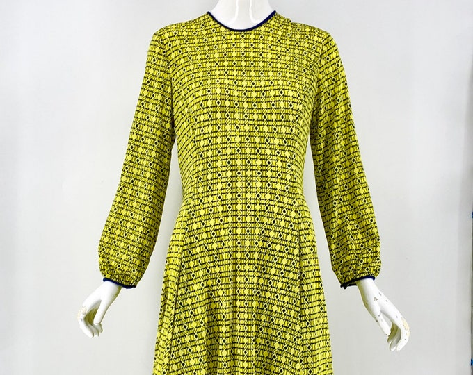 70s LA MENDOLA neon poly jersey print peasant sleeve dress 1970s Rome Italy vintage L XL