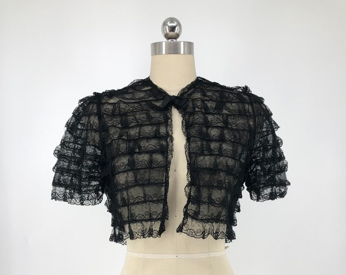 30s LACE BOLERO with black ruffles on net vintage 1930s gothic romance