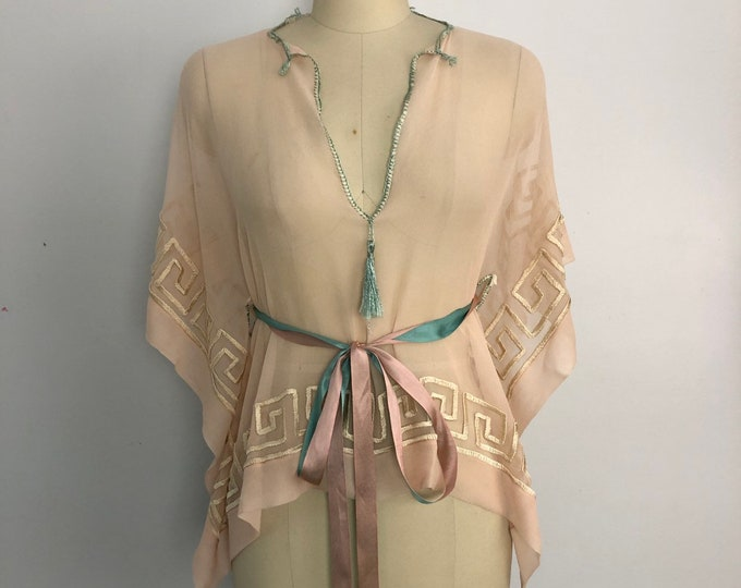 20s LINGERIE Greek key pattern silk chiffon ribbon tie draped blouse top vintage 1920s