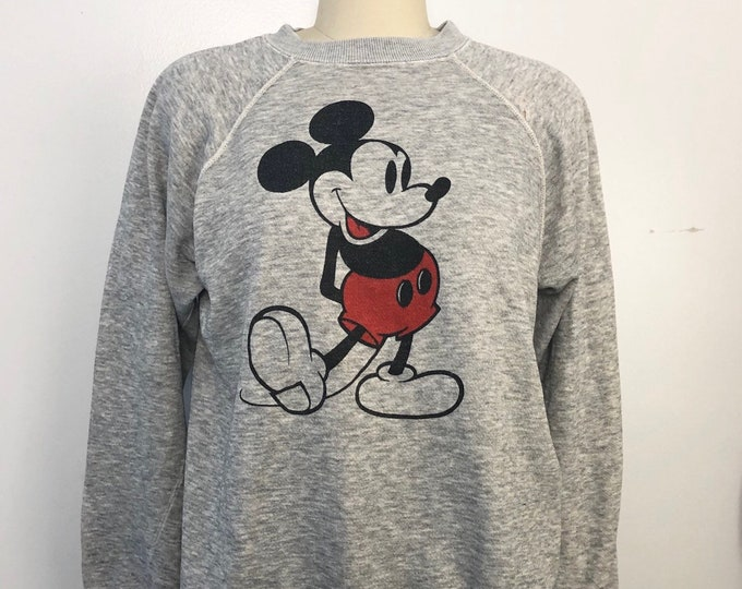 80s MICKEY MOUSE soft heather gray cotton print sweatshirt VINTAGE 1980s disney