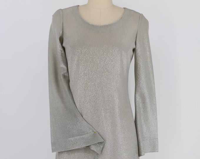 60s BETSEY JOHNSON for YOUTHQUAKE lurex silver metallic mod go go mini dress vintage 1960s