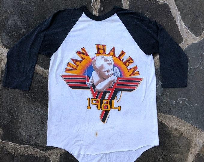 1984 VAN HALEN smoking baby vintage TOUR jersey band T shirt concert band 1980s L
