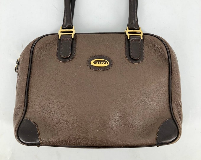 70s GUCCI brown leather top handle bag