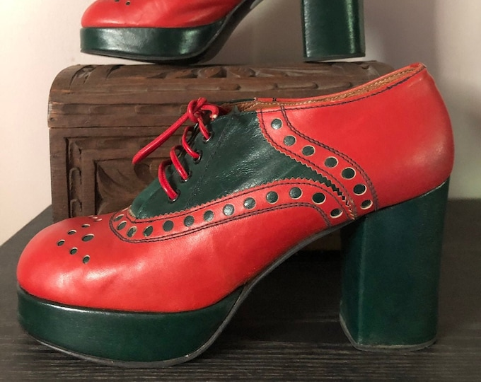 70s BUCCELLATI red green stack heel platforms oxfords shoes vintage size 6