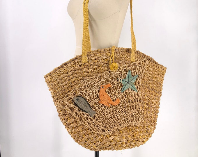 50s TODAYS CATCH giant straw market bag
