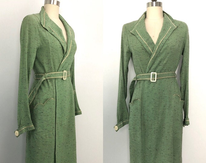 vintage 30s wool coat / 1930s SAGE WOOL charming art deco belted slim line lightweight COAT duster