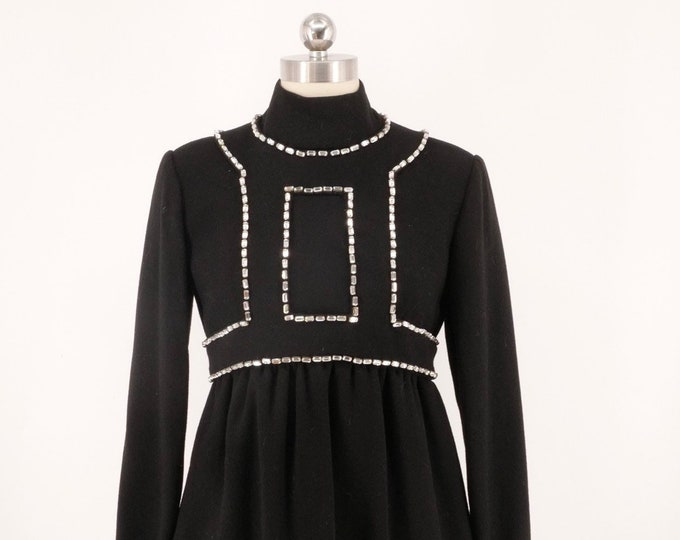 60s DONALD BROOKS Gemini dress M / vintage 1960s black wool crepe mod dress w/ huge white rhinestones 8