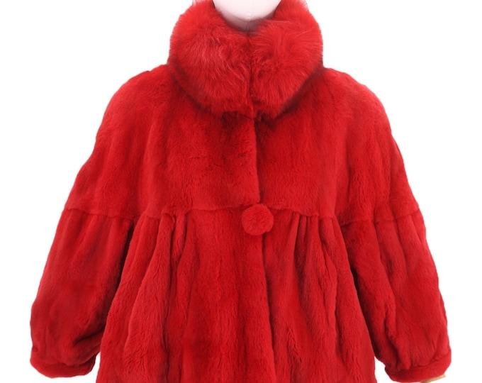 vintage red MINK FOX FUR coat sz L / 1980s 90s Nieman Marcus real sheared mink swing coat jacket sz 12