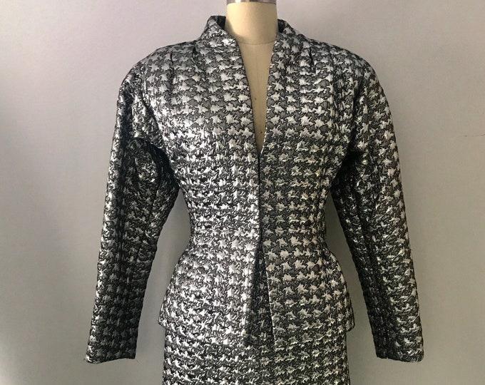 80s PAULINE TRIGERE silver lurex WILD avant garde tin foil peplum skirt suit jacket vintage 1980s