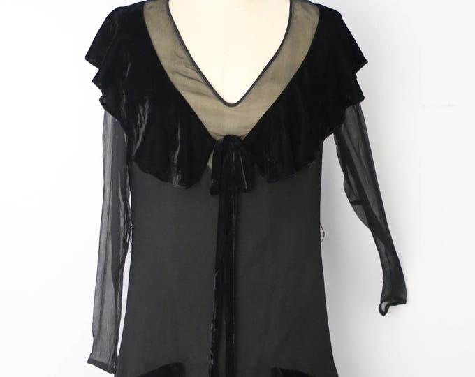 20s FLAPPER black silk chiffon draped velvet collar antique DRESS vintage 1920s