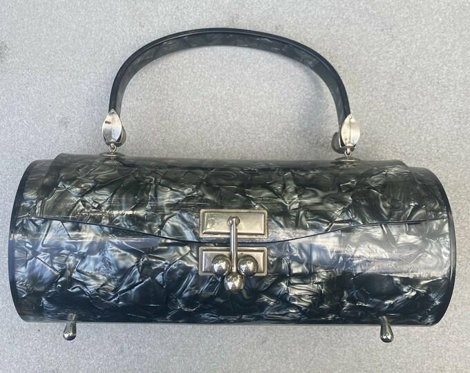 1950s MYLES Originals lucite bag /  vintage 50s pearl plastic gray barrel box bag purse 50s RARE