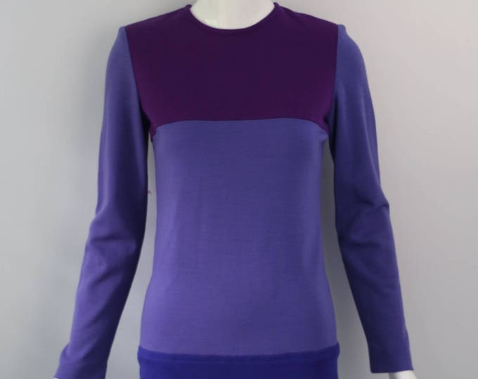 80s YSL Yves Saint Laurent colorblock wool knit purple shades sheath DRESS France designer 1980s vintage 36 6