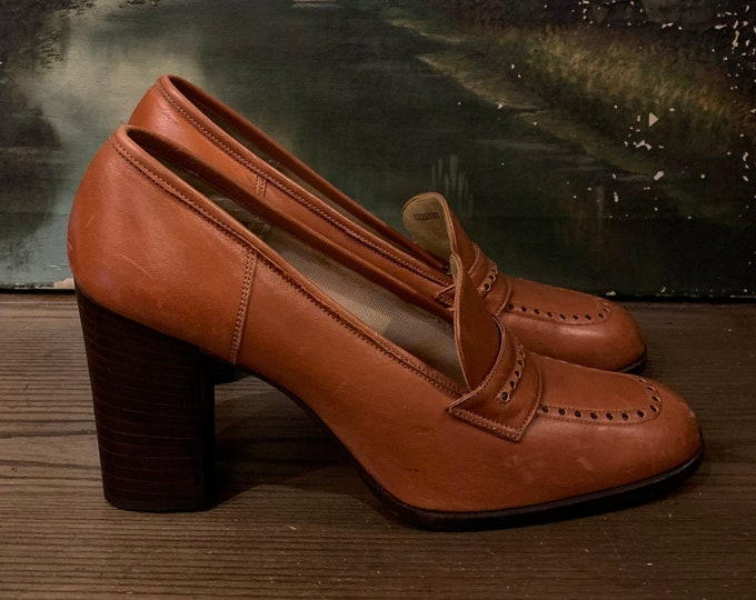 "1970s Stacked Heel ""ELLE"" Loafers SZ 9.5"