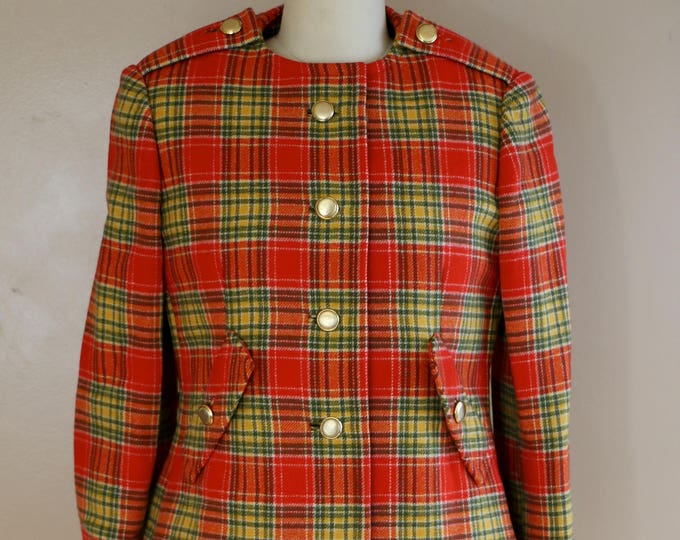 60s GEOFFREY BEENE plaid coat dress suit /  1967 red plaid mod wool jumper dress and jacket outfit vintage 1960s designer 4-6