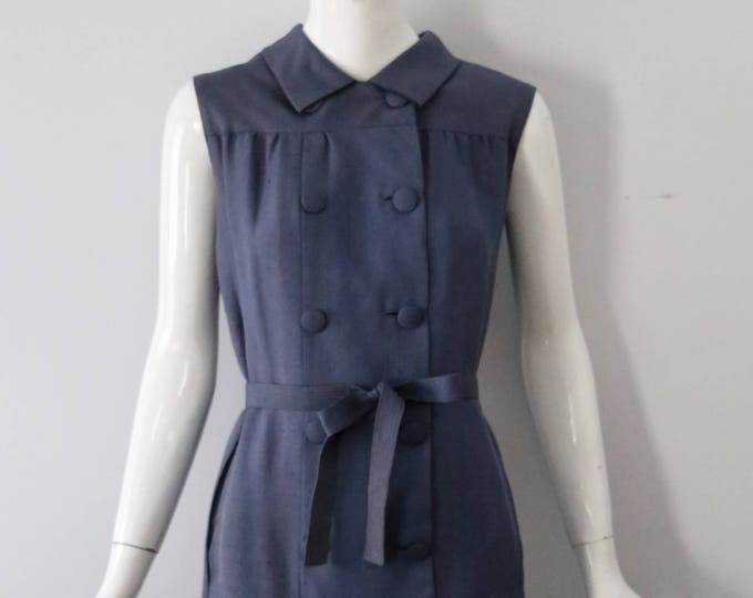60s NORMAN NORELL muted blue silk sleveless shift DRESS 1960s vintage as is Museum