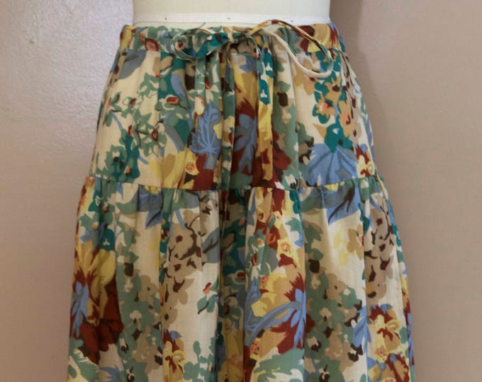 70s CACHAREL antique garden floral print woven tie waist SKIRT 40 8 vintage 1970s France